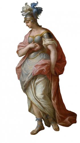 Johann Georg Bergmüller, Apollo und die Musen, Ausschnitt Minerva, RGS, Inv.-Nr. 257, © 2020 RGS/Ghezzi