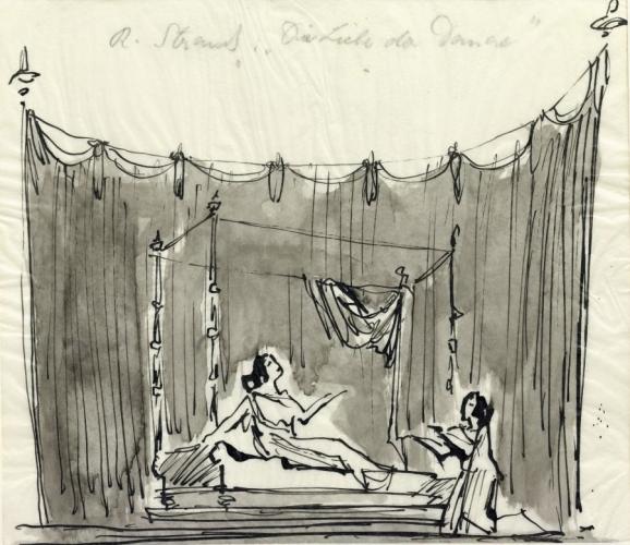 Richard Strauss (1864–1949), Die Liebe der Danae, 1944, Koloman Lenk (1921–2003), Bühnenbildentwurf, 1. Akt, Schlafgemach der Danae © Archiv der Salzburger Festspiele/Aufnahme: Ulrich Ghezzi, Oberalm
