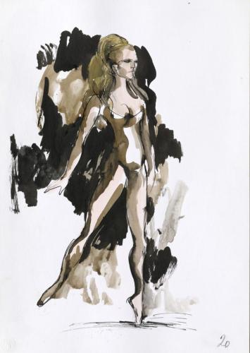 Claudio Monteverdi, Lˈ Orfeo, Jan Skalický, Kostümfigurine 20 Euridice (Colleen Scott), © Archiv der Salzburger Festspiele/Aufnahme: Ulrich Ghezzi, Oberalm