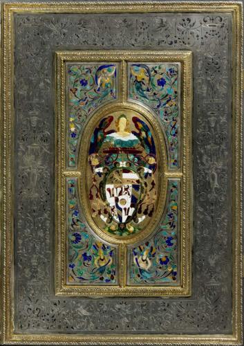 Missale des Fürsterzbischofs Wolf Dietrich von Raitenau, 1598/1599, Einband 1601/1603, Hans Karl, Silber, tlw. vergoldet, Email, Niello, Inv.Nr. S 12, ©Dommuseum, J. Kral
