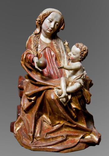 Thronende Madonna mit Kind, 1495/1500, Michael Pacher, Umkreis, Holz, gefasst, vergoldet, Leihgabe des Ursulinenkonvents Salzburg, ©Dommuseum, J. Kral