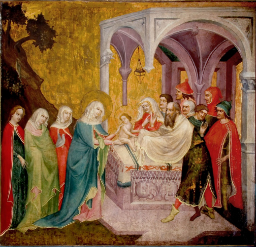 Darbringung Jesu im Tempel, 1425/1430, Meister des Pfarrwerfener Altars, Tempera auf Holz, Inv.Nr. KAT 26, ©Dommuseum, J. Kral