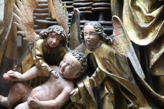 Geburt Christi, Werkstatt Kefermarkter Altar Holz, gefasst, um 1500, Dommuseum, Ausschnitt