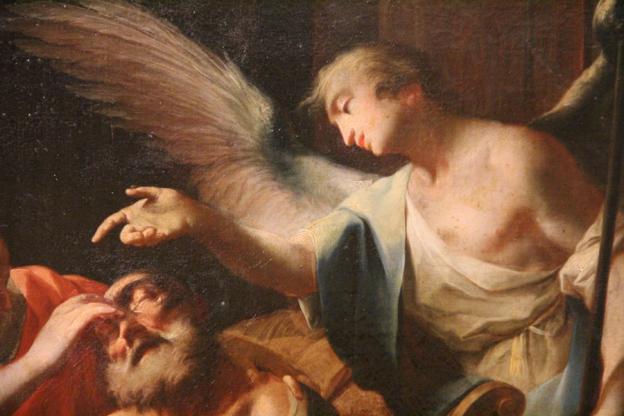 Martin Knoller, Die Heilung des alten Tobias Öl auf LW, 1753, Residenzgalerie, Ausschnitt