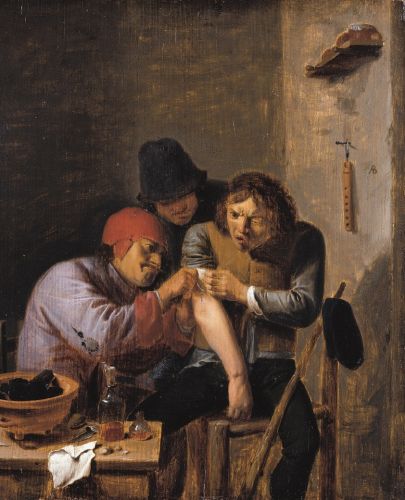 Adriaen Brouwer, Feeling, around 1635, oil/oak , 24.1 x 19.9 cm, inv. no. 533 © RGS/Ghezzi