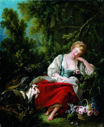 François Boucher, La Rêveuse-Träumende Schäferin, Öl/Leinwand, 56,9 x 46,5 cm, Inv. Nr. 587  © RGS/Ghezzi
