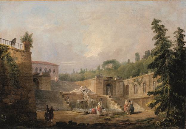 Hubert Robert, Brunnen auf einer Schlossterrasse, Öl/Leinwand, 28,5 x 40,4 cm, Inv. Nr. 495 © RGS/Ghezzi