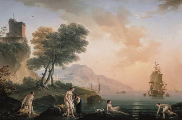 Claude-Joseph Vernet, Badende Mädchen am Meeresufer, 1761, Öl/Leinwand, 49,8 x 73,8 cm, Inv. Nr. 474  © RGS/Ghezzi