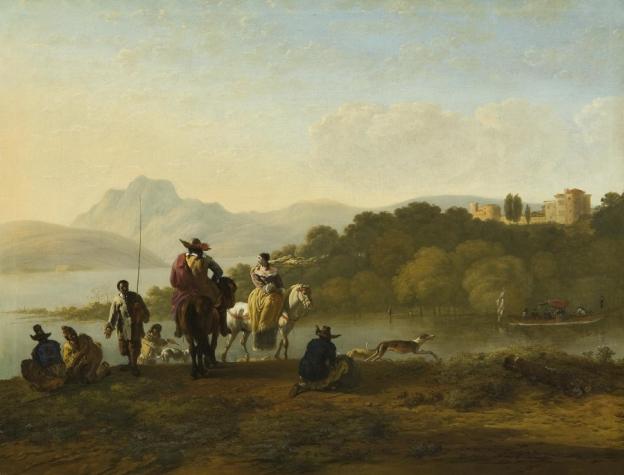 Karel Dujardin, Italienische Landschaft mit Jagdgesellschaft und Anglern © Gemäldegalerie der Akademie der bildenden Künste, Wien, Inv. Nr. 827