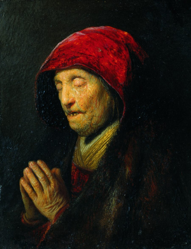 Rembrandt Harmensz. van Rijn,  Old Woman Praying, around  1629/30, oil/copper, 15.5 x 12.2 cm, inv. no. 549  © RGS/Ghezzi