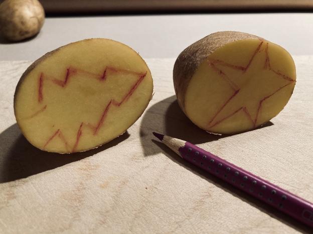 Mit einem Farbstift zeichnest du nun deine gewünschten Druck-Formen auf die Fläche der halben Kartoffeln.
