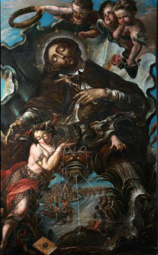 Apotheose des Johannes Nepomuk, 2. Viertel 18. Jh., Öl und Schabkunst auf Holz, Dommuseum, Inv.Nr. D 325 © Dommuseum