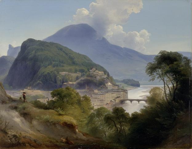 Johann Fischbach, Salzburger Ansicht mit Kapuzinerberg, 1844, Öl/Holz, 37,4 x 47,7 cm, Inv. Nr. 255  © RGS/Ghezzi