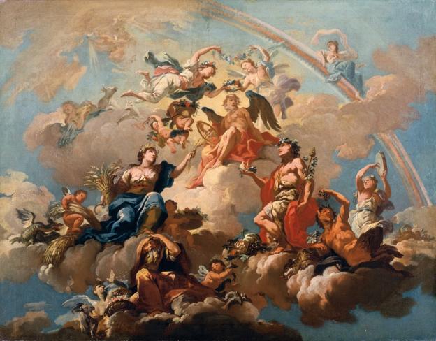 Bartolomeo Altomonte, Die vier Jahreszeiten, Chronos huldigend, um 1731, Öl/Leinwand, 74,5 x 94,5 cm, Inv. Nr. 235  © RGS/Ghezzi