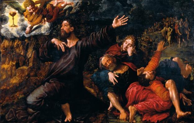 Jan Sanders gen. Hemessen (um 1500/04 Hemessen bei Antwerpen - vor 1566/nach 1575 Haarlem (?)), Christus am Ölberg, Öl/Eichenholz, 154 x 235 cm, 1554,  Residenzgalerie Salzburg  © RGS/Ghezzi