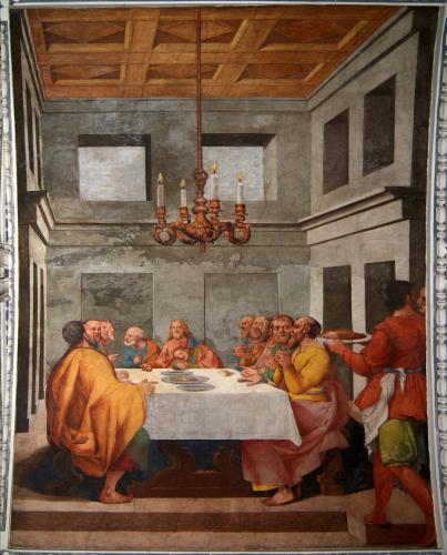 Arsenio Mascagni (1579–1636), Das Letzte Abendmahl, um 1625/30, Seccomalerei Dom, Langhausgewölbe © Dommuseum/J. Kral