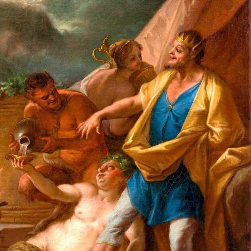 König Midas im blauen Gewand, mit Krone und Eselsohren.