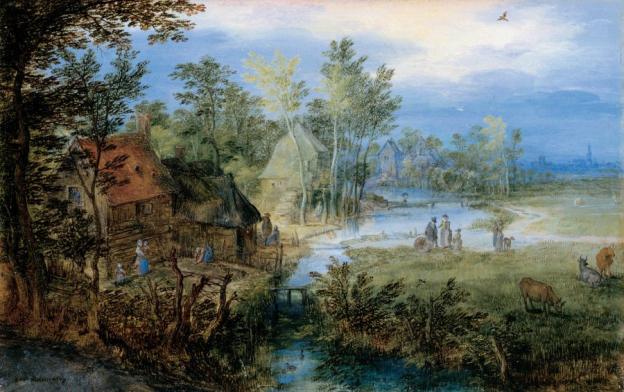 Jan Brueghel der Ältere, Dorflandschaft mit Figuren und Kühen, 1609, Öl/Kupfer, 10,7 x 16,9 cm, Inv. Nr. 559  © RGS/Ghezzi