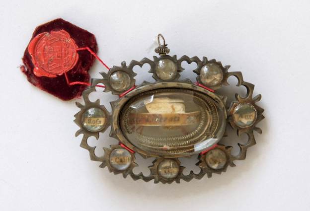 Pestsegen, 1. Hälfte 18. Jh., Steinbockhorn, Bergkristall, originale Authentik
