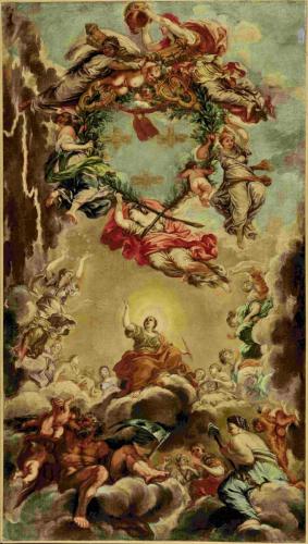 Nach Pietro da Cortona (1596-1669), Glorie des Hauses Barberini und Papst Urbans VIII. Wiederholung des Mittelteils des Deckenfreskos im Salone grande des Palazzo Barberini, Rom, nach 1632; Öl auf Leinwand © Salzburg Museum