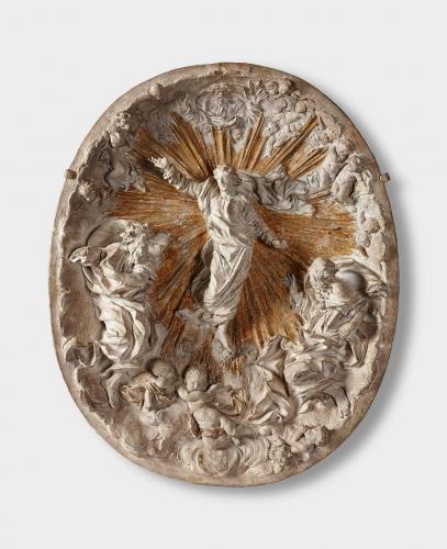 Gianlorenzo Bernini (1598-1680), Metamorphose Christi oder Verklärung am Berg Tabor Modell für ein Relief, 1657; Terracotta, Reste von Vergoldung © Salzburg Museum