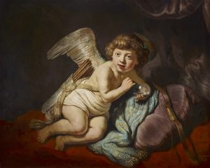 Harmensz. van Rijn Rembrandt Amor mit Seifenblase 1634 Oil on panel GE880 Cupid with the Soap Bubble Cupido con la bolla di sapone Amour à la boulle de savon