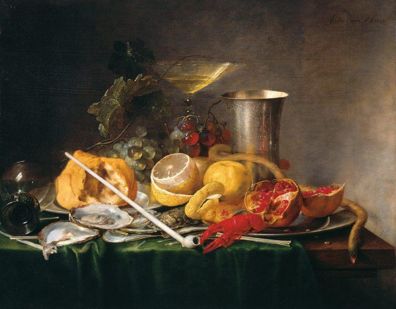 Öl Gemälde mit Zironen, Hummer, Becher, Pfeife