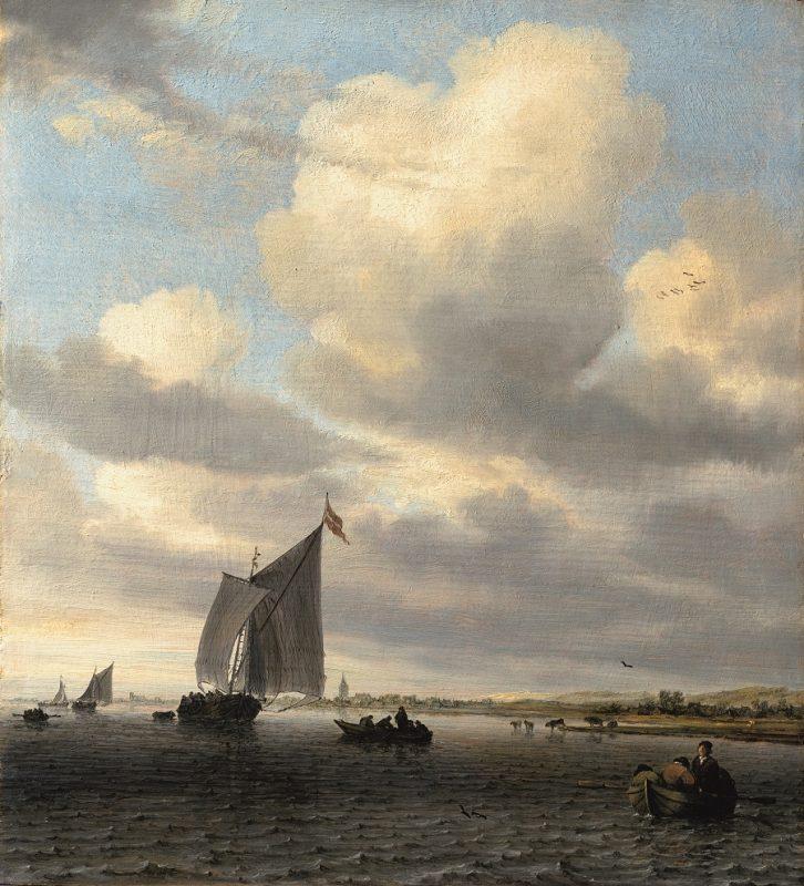 Ölgemälde mit Seelandschaft mit Segler rechts