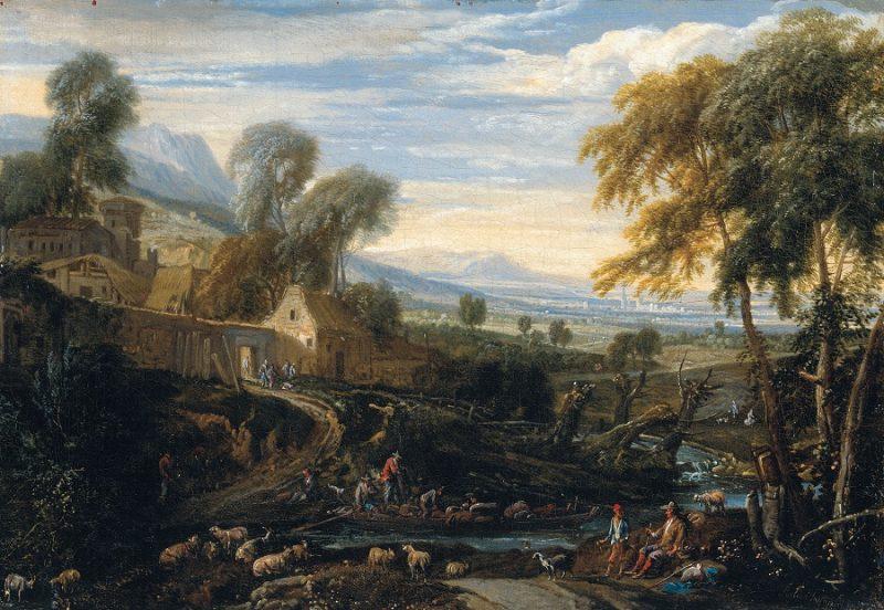Landschaft mit Hirten und Herde auf einem Ölgemälde