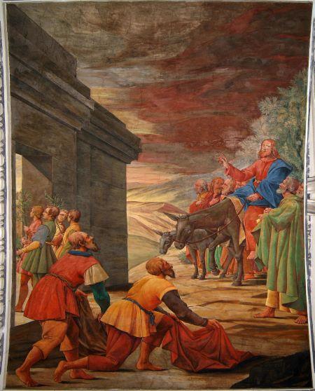 Jesus zieht auf einem Esel in Jerusalem ein.