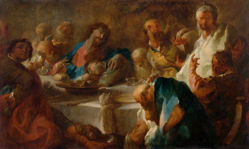 Um einem Tisch isst Jesus mit seinen Jüngern das Abendmahl. Im Bild links sitzt Judas und hält einen Geldbeutel hinter seinem Rücken. Die anderen Jünger wirken aufgebracht. Johannes ist zu jesus linker Seite eingeschlafen. Er hat seinen Kopf auf den Tisch gelegt.