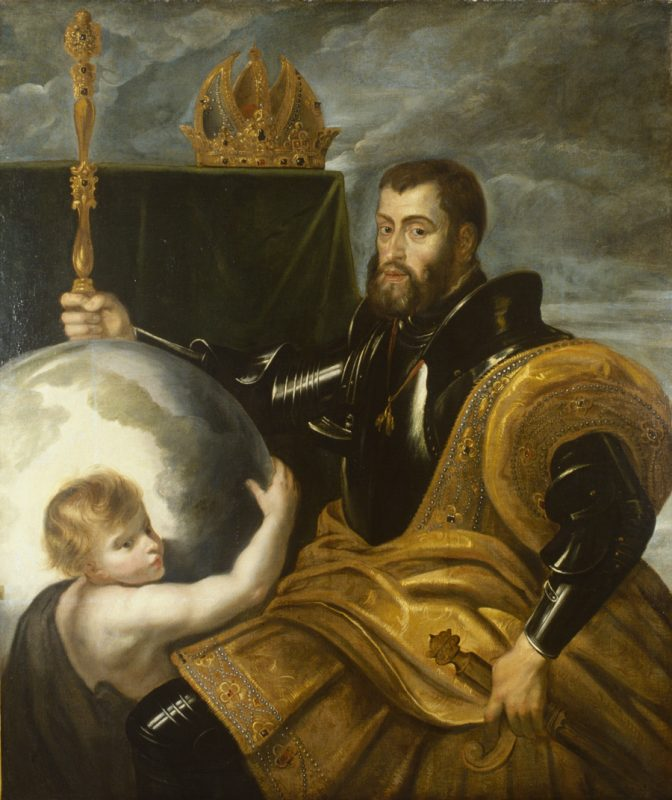 Kaiser Karl V. in seinem Ornat, mit Szepter, Globus, Krone und Genius.