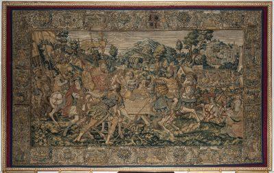 Wandteppich aus dem Audienzsaal der Prunkräume. Er zeigt Romulus, der nach seinem Sieg über die Veïer triumphiert