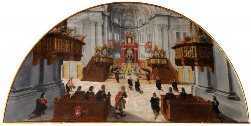 Die Primiz des hl. Philipp Benitius, vor 1647, Erasmus Hämmerle, Öl auf Leinwand, Maria Luggau, Servitenkloster