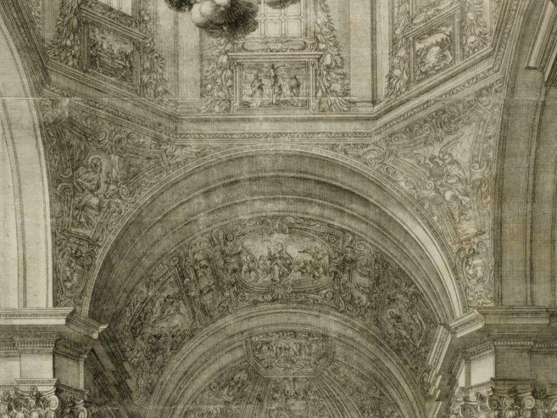 Ausschnitt der Innenansicht des Salzburger Doms als Kupferstich von Melchior Küsell, um 1675
