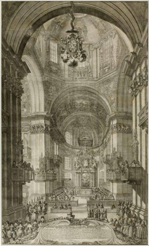 Innenansicht des Salzburger Doms, um 1675 vom Künstler Melchior Küsell, Kupferstich und Radierung, Salzburg, Erzbischöfliche Mensa