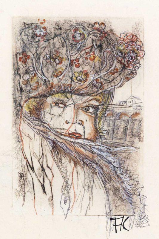 Zeichnung eines Frauengesichts mit bunt verzierter Kopfbedeckung und Schal von Florian Köhnlein